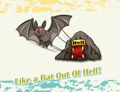 Like a bat out of hell idiom - stock illustration