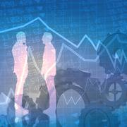Composite image of businessmen talking Stock Illustration