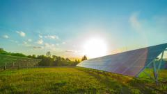 8K Solar panels and sun, panoramic time-lapse Stock Footage