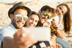 A selfie with the friends - stock photo