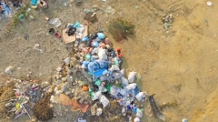 AERIAL VIEW. Garbage dumps - stock footage