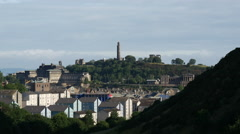 View from Holyrood Park to calton hill in Edinburgh Scotland Stock Footage