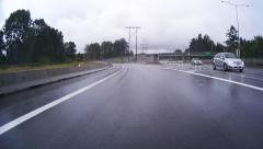 Rainy Highway - Speedy Driving - 01 - Sound - stock footage