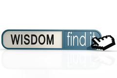Wisdom word on the blue find it banner Stock Illustration