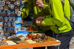 Sale of souvenirs and products from amber on Theatre Square, Klaipeda Stock Photos