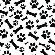 Black and White Dog Paw Prints and Bones Tile Pattern Repeat Background - stock illustration