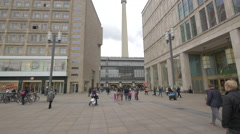 Berliner Fernsehturm seen from Alexanderplatz, Berlin Stock Footage