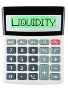 Calculator with LIQUIDITY Stock Photos