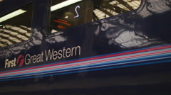 First Great Western train departs close up 4K Stock Footage
