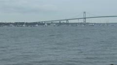 Stock Video Footage of Boats attend Volvo Ocean Race in port race in Newport bay