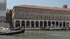 Gondalas in front of Campo Erberia in Venice Stock Footage