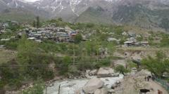 Sangla village with river and mountains,Sangla,Kinnaur,India Stock Footage