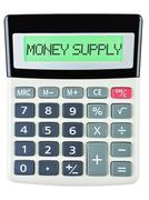 Calculator with MONEY SUPPLY Stock Photos
