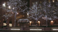 New York City Night Lights On The Trees Near The Rockfeller Centre Stock Footage