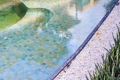 Residential Inground Swimming Pool in Backyard. - stock photo