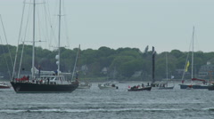Mapfre sailing team racing during Volvo Ocean Race in Newport bay Stock Footage