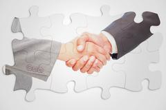 Composite image of handshake between two business people - stock illustration