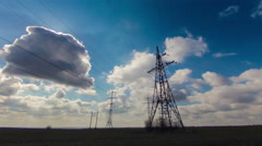 Electricity, energy, power, sky, high, background, tower Stock Footage
