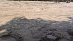 Flooded River Ganga in Rishikesh 6 Stock Footage