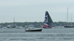 SCA sailing team racing during Volvo Ocean Race in Newport bay Stock Footage