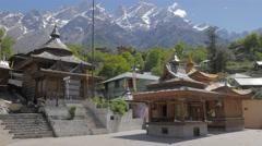 Kamru temple with snow capped mountains,Kamru,Kinnaur,India Stock Footage