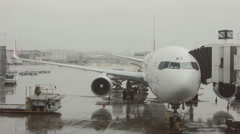 Rainy Plane Cargo Loading In Chicago Airport Stock Footage
