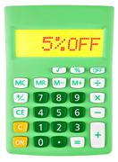 Calculator with 5OFF on display - stock photo