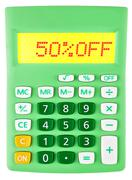 Calculator with 50OFF on display Stock Photos