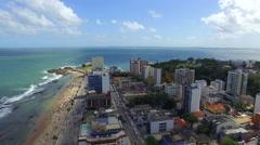 Aerial View of Barra Beach in Salvador, Bahia, Brazil Stock Footage