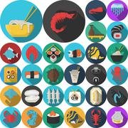 Asian menu flat round icons collection - stock illustration