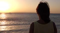 Woman Admire Sinrise - stock footage