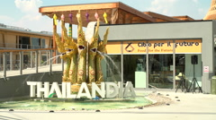 Main entrance of Thailand pavilion at Expo Milano 2015 Stock Footage