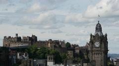 Balmoral Hotel and Edinburgh Castle from Calton Hill Edinburgh Scotland Stock Footage