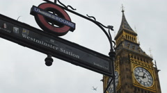 Westminster station and plane 4K Stock Footage
