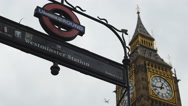Stock Video Footage of Westminster station and plane 4K