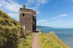 South west coast path near Porlock Somerset coastguard lookout tower - stock photo