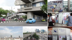 Montage collection of people go to BTS Mo-Chit station,Thailand Stock Footage