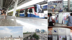 Stock Video Footage of Montage collection of people go to BTS Mo-Chit station,Thailand