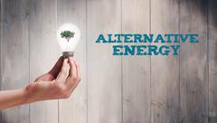 Stock Illustration of Composite image of hand holding environmental light bulb