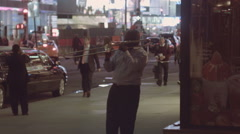 Trombone Player in New York City Time's Square Stock Footage