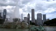 Stock Video Footage of Downtown Chicago, Illinois Skyline and Fountain