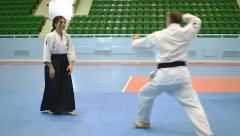 Martial Art Aikido. Fight Sports Stock Footage
