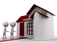 3d person entering house concept - stock illustration