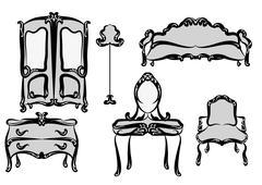 antique furniture - stock illustration