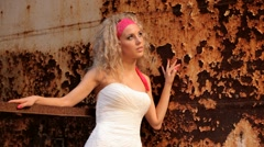 Bride On The Background Of A Rusty Iron Wall Stock Footage