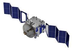 Satellite Deploys Solar Panels Stock Illustration