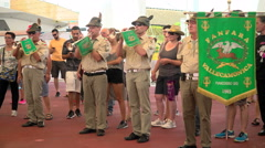 Vallecamonica fanfara army band marching at Expo Milano 2015 Stock Footage