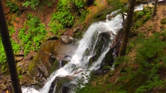 4k, Waterfall in the mountains near the village Pylypets, Carpathians Stock Footage