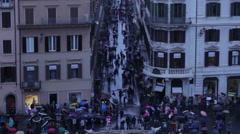 High shot of tourist filled Via dei Condotti Stock Footage
