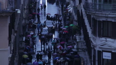 High tilt shot of the crowded Via dei Condotti Stock Footage